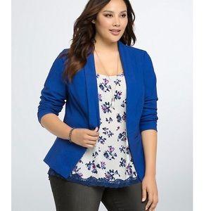 🦋Torrid open front blue blazer size 0 NWOT🦋